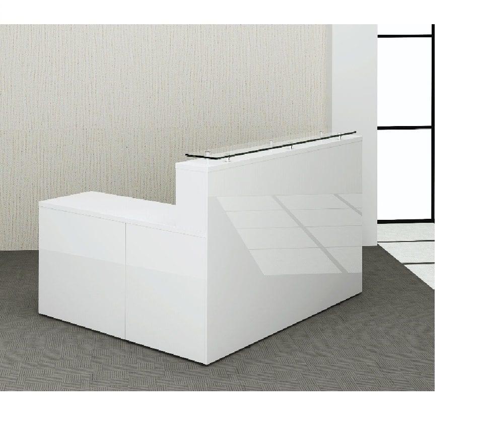 White High Gloss Reception Desk Amp Return Penningtons