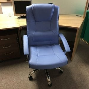 Stylish Blue Faux Leather Exec Chair